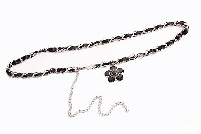 S389 Beautiful Girly Silver Chain Belt w Fake Leather Butterflies/& Clip Closing