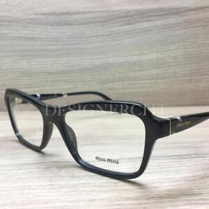 a5fdee6469fc Miu Miu VMU 02N Eyeglasses Shiny Black 1AB-1O1 Authentic 54mm