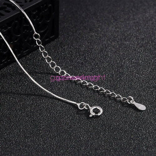 """Solid 925 Sterling Silver 14 16 18 /"""" inch 0.7mm Snake Chain Necklace Adjustable"""