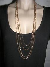 "$18 Stephan & Company Multi-Layer Faux Pearl Necklace Brass-tone Chains 30"" Long"