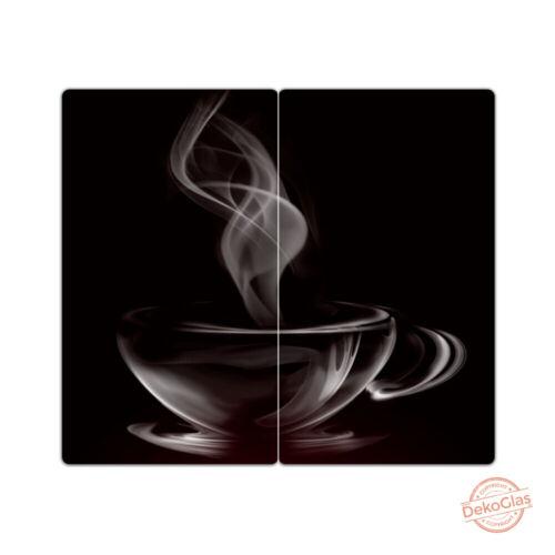 "DEKOGLAS Herdabdeckplatten /""Kaffee/"" 60x52 Glas Ceranfeld-Abdeckung Spritzschutz"