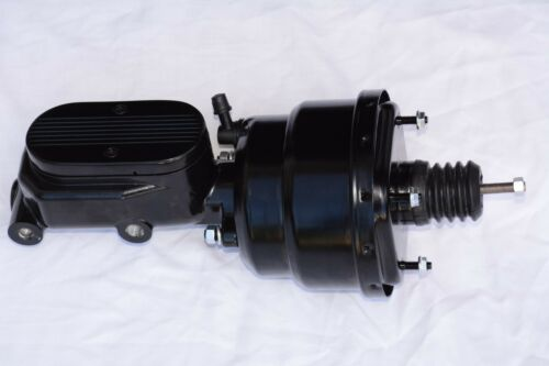 "BLACK 7/"" Dual Power Brake Booster /& Center Finned Master Cylinder street rod gm"