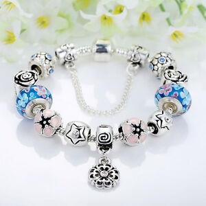 Fashion-Flower-Silver-Glass-Bead-Charm-Bracelet-With-Blue-Crystal-Fit-Women-Gift