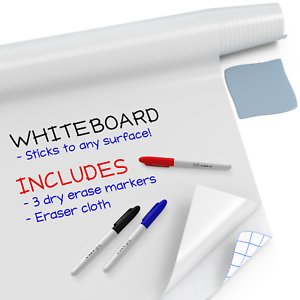 Large Whiteboard Sticker (8 FT) + 3 Dry Erase Board Markers - White Board Wall