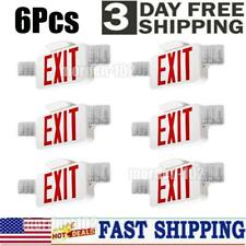 6 Pack Emergency Lights Red Exit Sign Withdual Led Lamp Combo Smd2835 Fire Safety