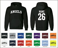 Angels Custom Personalized Name & Number Adult Jersey Hooded Sweatshirt