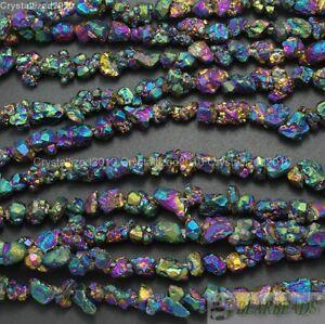 Natural-Quartz-Crystal-Druzy-Colorful-Chip-Nugget-Metallic-Titanium-Coated-Beads