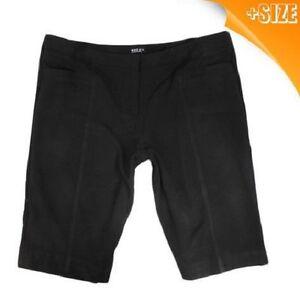 New Ladies Women Plus Size Black PVL City Dress Office Long Shorts ...