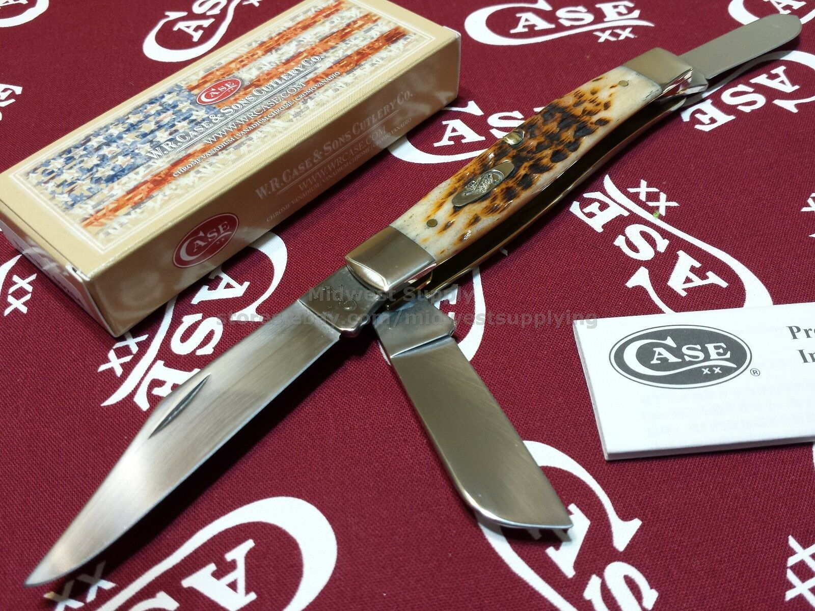 case xx knife 204 amber bone cv large stockman folding