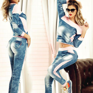 ESC-2-Teiler-Jeans-im-Set-Sexy-Damenhose-Pullover-Jeanslook-34-40-E148