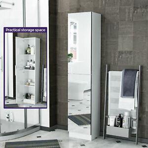 Tall Free Standing Mirrored Storage Cupboard Organiser Bathroom Furniture Ebay