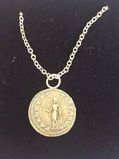 """Denarius Of Otho Roman Coin WC20 Made In  Pewter On 16"""" Silver Plated Necklace"""