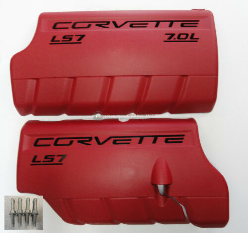 06-13 LS7 Corvette Z06 Fuel Rail Engine Coil Cover LH RH w// Studs New GM RED
