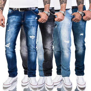 Rock-Creek-da-uomo-Jeans-Designer-Pantaloni-Slim-Fit-Destroyed-look-denim-w29-w40-m48