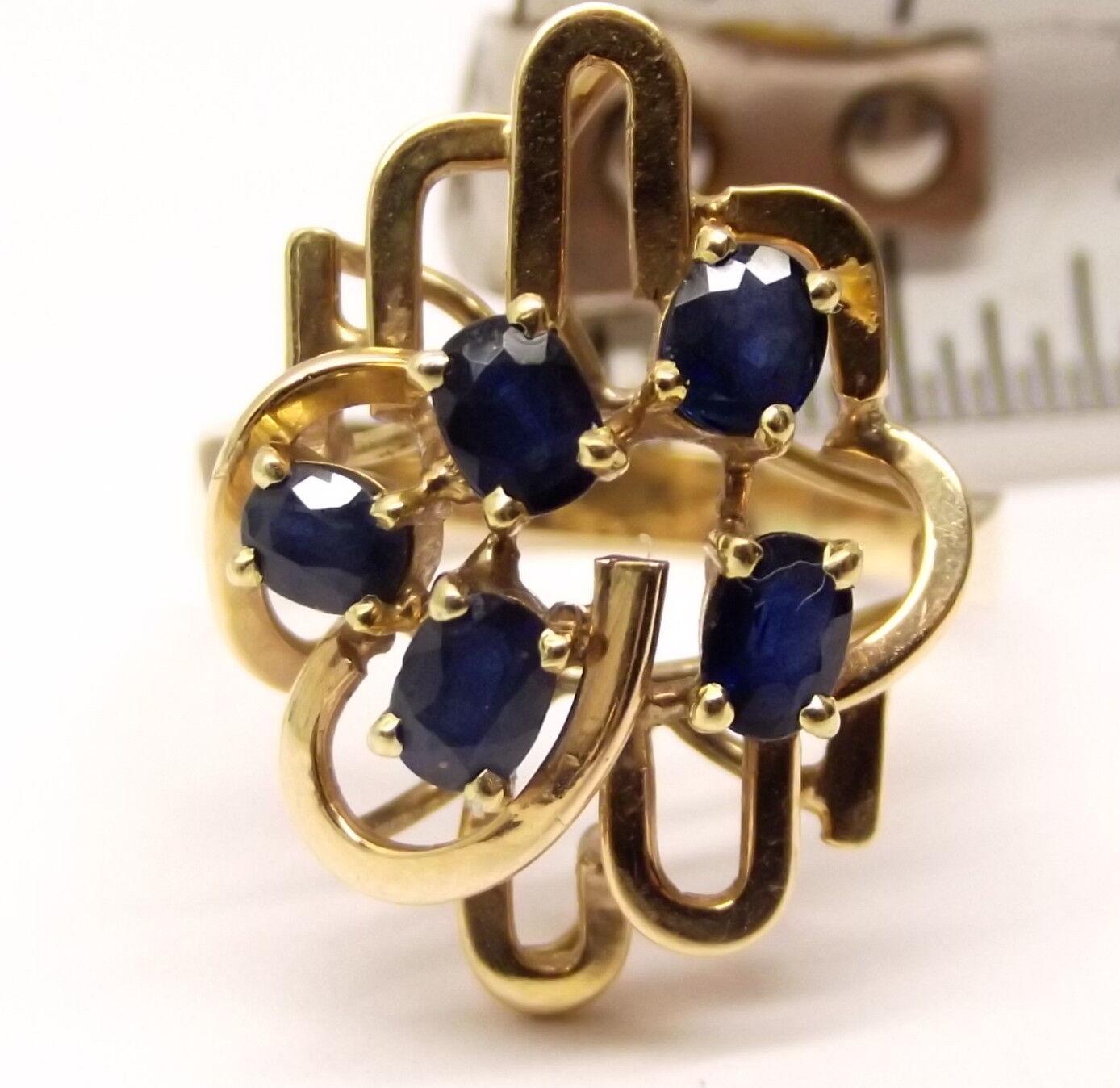 Vtg 14K gold bluee Sapphire Cluster Ring Sz 9.5 Estate Ornate Spiral Modernist