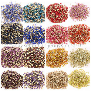 10Gross1440Pcs-Top-Quality-Czech-Crystal-Round-Rhinestones-Pointed-Foiled-Back