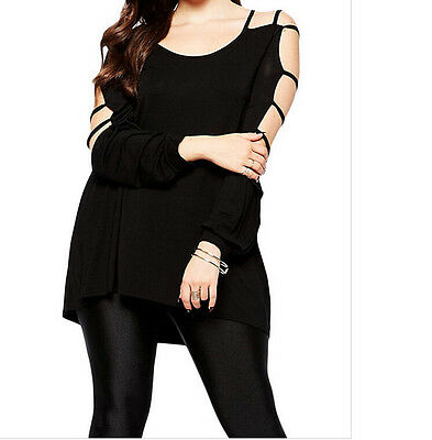 Cut out Swing Arm Top women sexy Loose Blouses 28761 Casual Summer Plus size