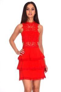 cf39c0351f5f AX Paris Womens Red Crochet Mini Skater Dress Sleeveless High ...