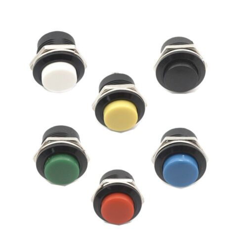 6pcs Lockless Momentary OFF Push button Switch 16MM  Round reset switch ON