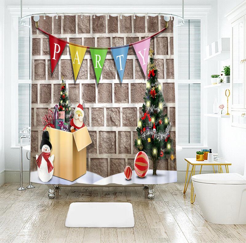 3D Christmas  Xmas 919 Shower Curtain Waterproof Fiber Bathroom Windows Toilet