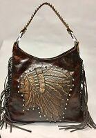 Raviani Indian Head Brown Leather Hobo Bag W/ Fringe & Silver Studs