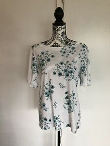 Croft-Barrow-Size-XXL-White-Pullover-Floral-Blouse-Short-Sleeve-Top