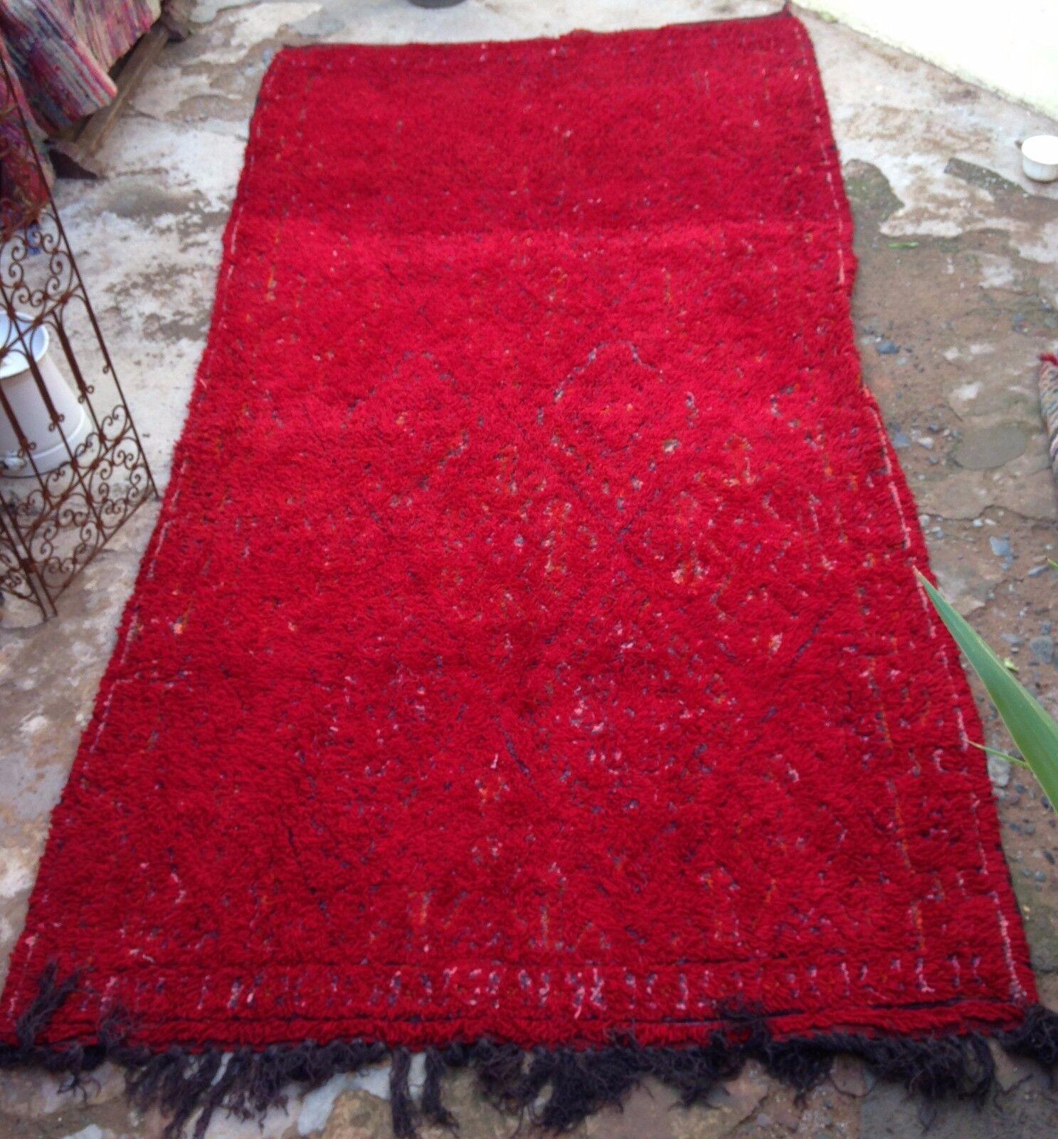 Marroquí rojo Beni mguild Ziane Tribal Alfombra 363 X 183cm 11ft11 X 6ft