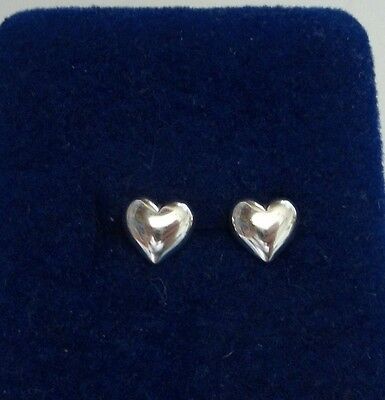 Sterling Silver TINY 7x7mm Puffy Heart Stud Studs Earrings