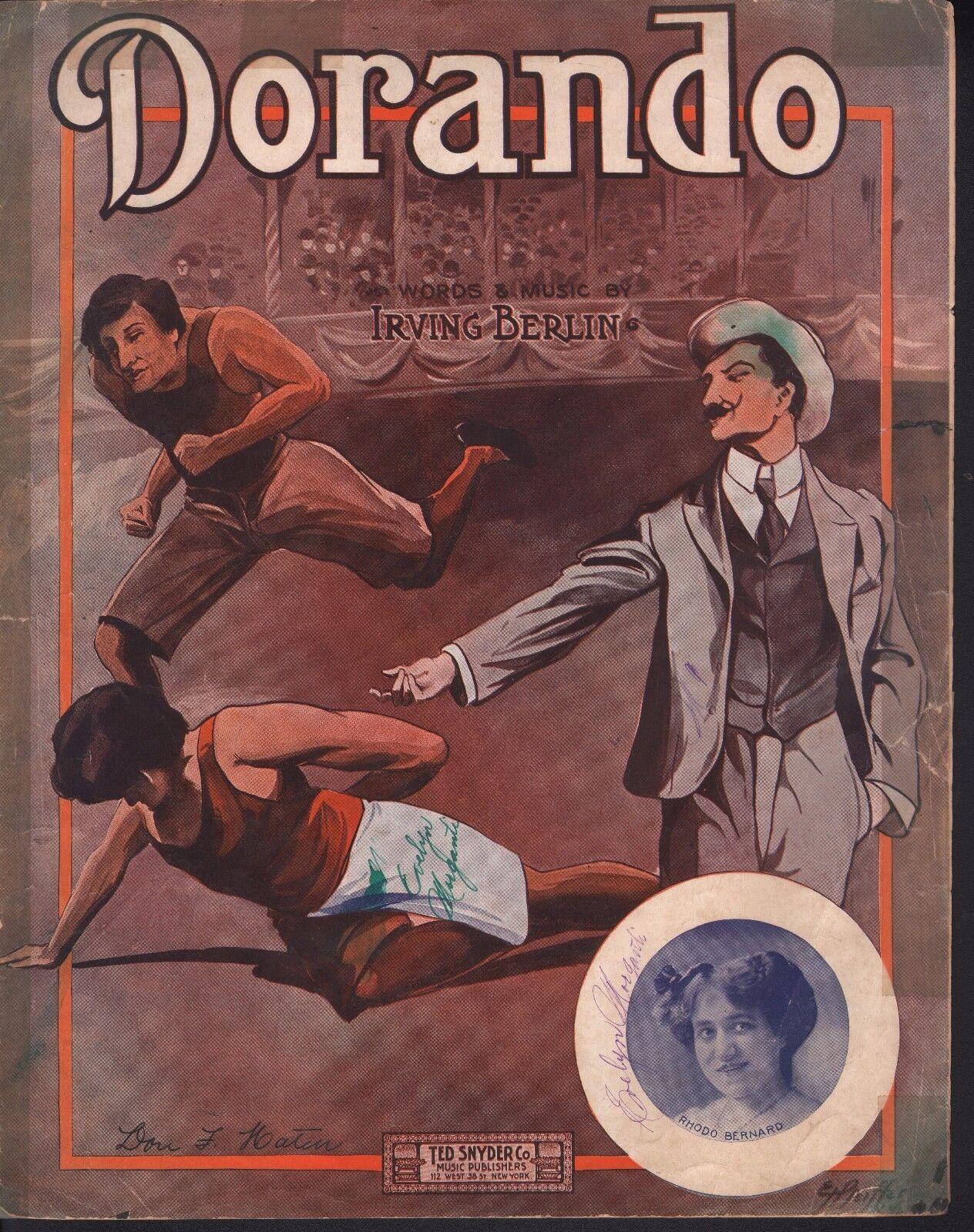 Dorando 1909 Very Early Irving Berlin Large Format Sheet Music