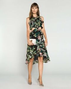 8b9c35f39f8 GUESS NWT Natalie Cutout High-Low Dress Fleur De Lis Black Combo XL ...