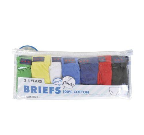 100/% Cotton Boys Underwear Pants BR208 Boys Kids 7 Pack Briefs