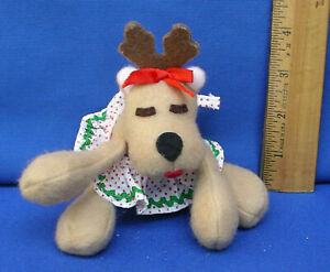 Hallmark-1984-Rhonda-Reindeer-Plush-Xmas-Stuffed-Bean-Bag-Rodney-Baby-girl-Mini