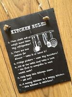 New Funny Kitchen Rules Shabby Chic Vintage Wall Hanging Sign Plaque Black Slate