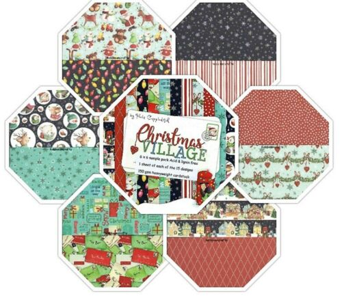 CHRISTMAS VILLAGE Dovecraft 6 x 6 Paper Sample pack 1 of each design 150 gsm
