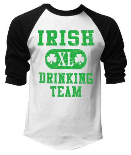 Men/'s Irish Drinking Team White Baseball Raglan T Shirt St.Patrick/'s Ireland XL