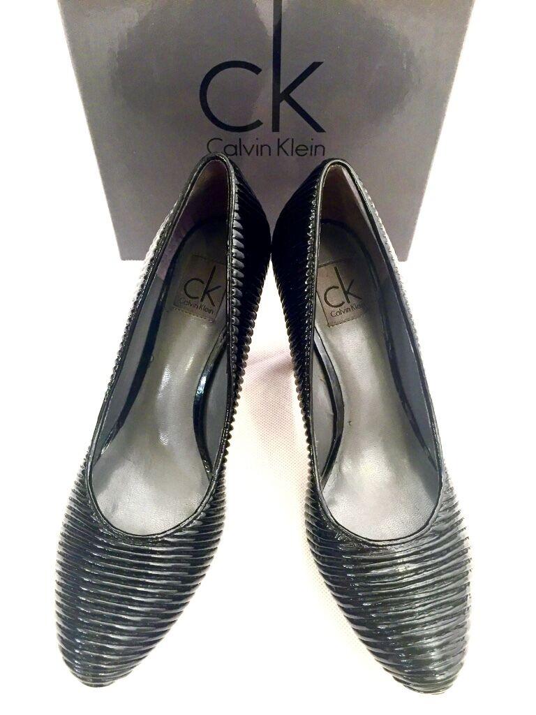 CK CALVIN Gr KLEIN Damen Schuhe Pumps Leder schwarz schwarz Gr CALVIN 36 NEU BOX 3258d2