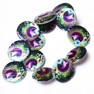 1strings-Nice-Peacock-Oblate-Flat-Round-Disc-Loose-Faux-Shell-Beads-Findings-C