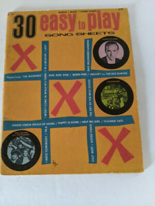 Hansen 30 Easy To Play Song Sheets: Words/Music/Chord Names - Vintage Book!