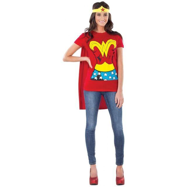 SuperGirl Shirt Adult Womens Costume Kit Cape Heroine Halloween