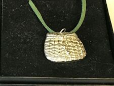 "Fishing Basket TG22 English Pewter On 18"" Green Cord Necklace"