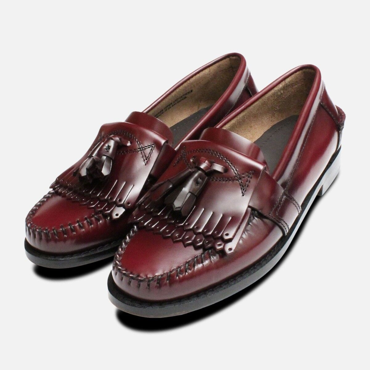 Oxblood Ladies Double Double Double Fringe Tassel Loafer shoes 1d76ad