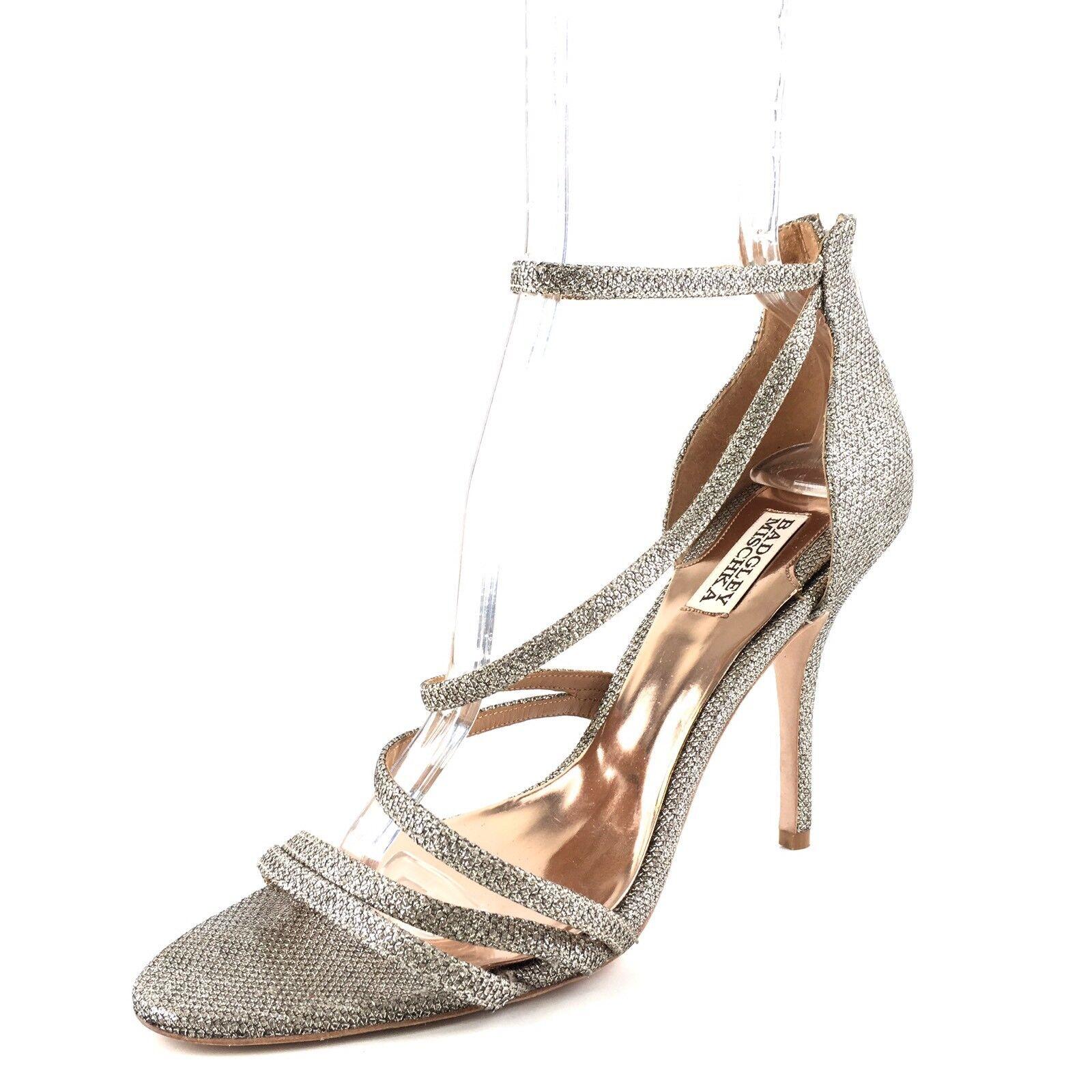 Badgley Mischka Landmark Silver Metallic Strappy Dress Sandales Damenschuhe Größe 10 M