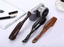 Marrone Scuro PU cuoio per fotocamera Mano Cinturino Da Polso Per Canon Nikon Olympus Panasonic