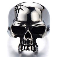 Gothic Man's Biker Jewelry Stainless Steel Skull Ring Oxidized Black