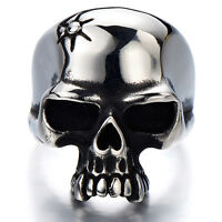 Gothic Man's Biker Jewelry Stainless Steel Skull Ring Oxidized Black