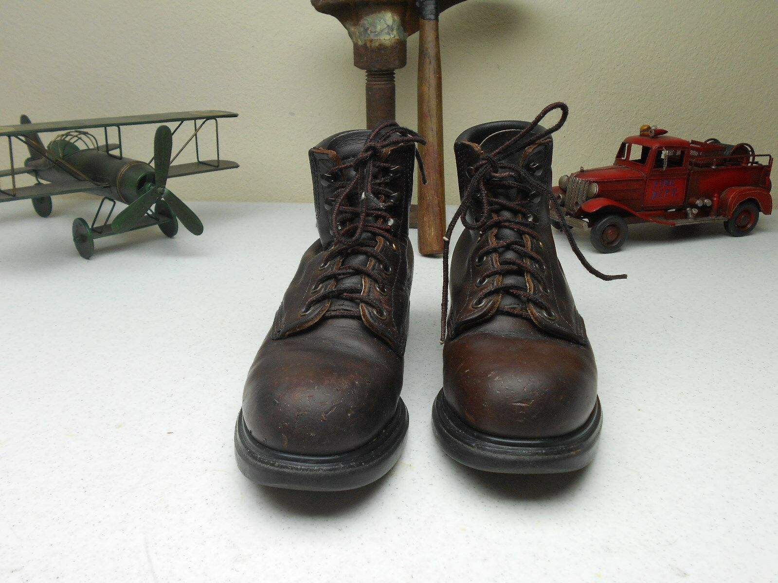 BROWN STEEL TOE RED WING LEATHER LACE UP PACKER WORK CHORE FARM BOOTS 5.5 C/D?