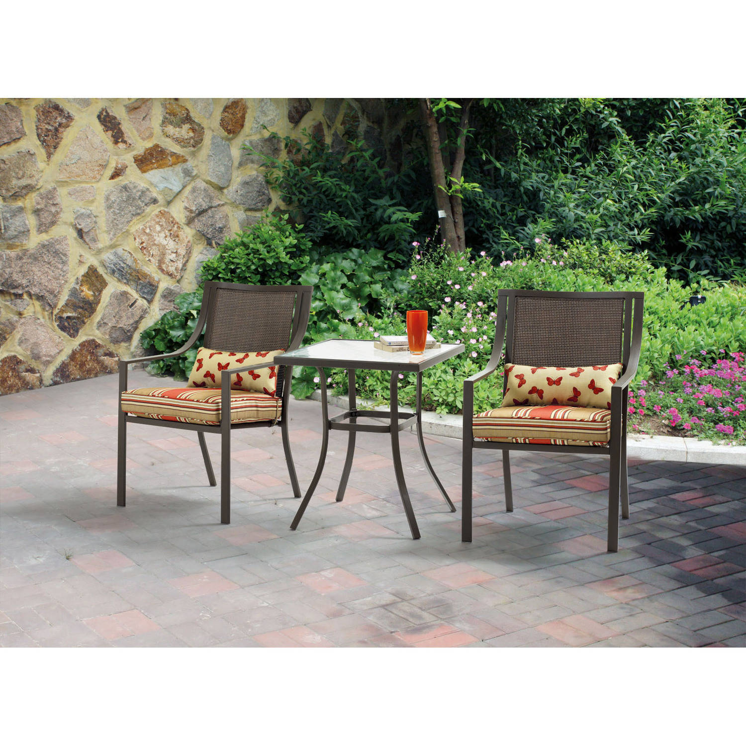 Details about outdoor bistro set 3 piece patio chairs table furniture garden seat tax free