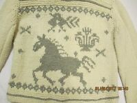 Indigenous Designs With Tags Horse Motif Cardigan Handknit Alpaca Size Large
