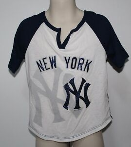 new style 7c11b 33c26 Details about MLB New York Yankees 5th & Ocean Girls Size 6 Distressed  Bling Shirt