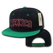 0554a16c786 Black Mexico Mexican Soccer Flat Bill Snapback Snap Baseball World Cup Hat  Cap